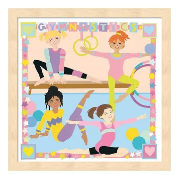 "Metaverse Art ""Gymnastics"" Wood Framed Wall Art, Multicolor, 12""X12"""
