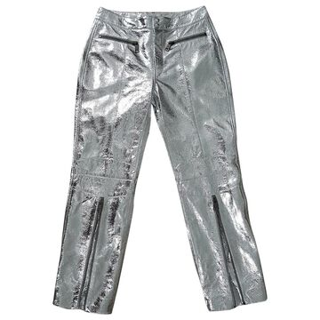 John Galliano \N Silver Leather Trousers