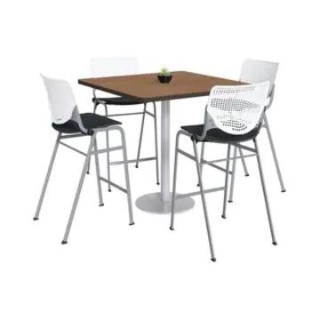 KFI KOOL Bistro Table & Chair set, Cherry Table Top (42 inch table top - White/Black)