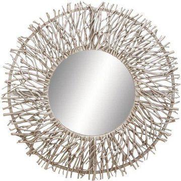 Decmode Wood and Metal Mirror, Grey