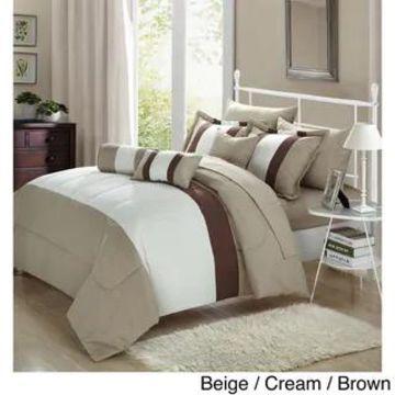 Chic Home Serenity Colorblock Microfiber 10-piece Comforter Set (Beige/Cream/Brown - King)
