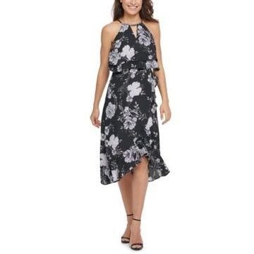 kensie Ruffled Popover Midi Dress