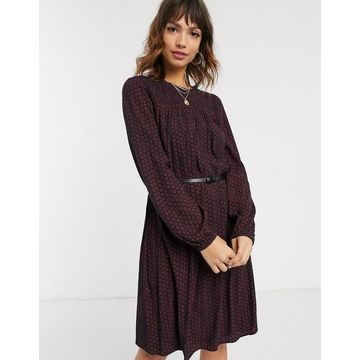 Esprit woven midi dress in red and black print