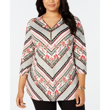 Plus Size Zip-Neck Tunic, Created for Macy's