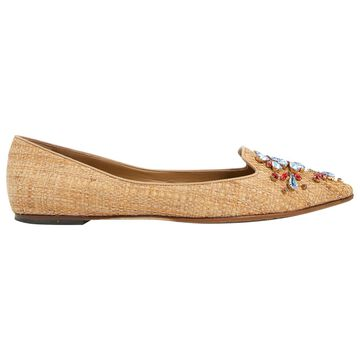 Dolce & Gabbana Beige Leather Flats