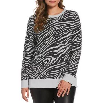 Rafaella Women's Long Sleeve Zebra Print French Terry Sweatshirt - -