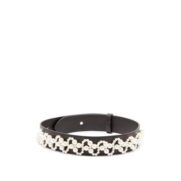 Simone Rocha - Faux Pearl-embellished Leather Belt - Womens - Black Multi