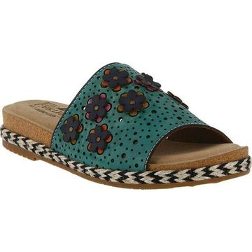 L'Artiste by Spring Step Women's Purea Slide Turquoise Leather
