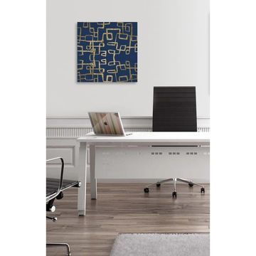 Oliver Gal 'Navy Geometry Gold' Abstract Wall Art Canvas Print - Blue, Gold