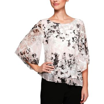 Alex Evenings Womens Petites Blouse Printed Tiered
