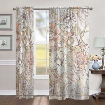 Laural Home Blushing Pale Pink Peonies 84-Inch Sheer Rod Pocket Window Curtain Panel