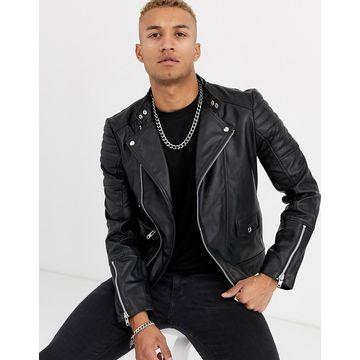 Religion leather biker jacket in black
