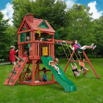 Gorilla Playsets Nantucket II Cedar Swing Set - Redwood - 15.5 ft W x 13 ft D x 10.5 ft H