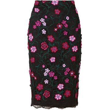 Lela Rose - Appliqued Embroidered Lace Skirt - Black