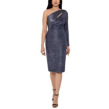 Betsy & Adam Metallic One-Shoulder Sheath Dress