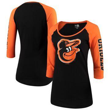Women's 5th & Ocean by New Era Black/Orange Baltimore Orioles Foil 3/4-Sleeve T-Shirt