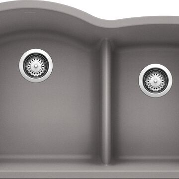 BLANCO Diamond Undermount 32.07-in x 20.875-in Metallic Gray Double Offset Bowl Kitchen Sink   441592