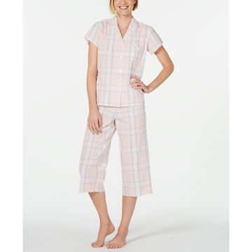 Notch Collar Top and Cropped Pants Plaid Seersucker Pajama Set