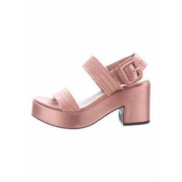 Raw-Edge Trim Slingback Sandals Pink