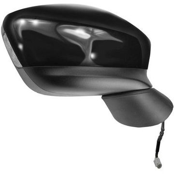 66045M - Fit System Passenger Side Mirror for 13-14 Mazda CX-5, black w/ PTM cover, w/ turn signal, w/ out blind spot detection, foldaway, Power