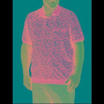 Big & Tall Harbor Bay Leaf Print Banded Hem Polo Shirt - Navy