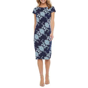 Ronni Nicole Short Sleeve Scroll Puff Print Midi Sheath Dress