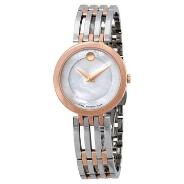 Movado Women's 0607114 'Esperanza' Dot Two-Tone Rose Gold-tone Stainless Steel Watch (8 Inch - Stainless Steel - 30 Meters - Sapphire - Two Hand -