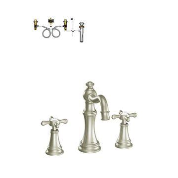 Moen Weymouth Brushed Nickel 2-Handle Widespread WaterSense Bathroom Sink Faucet with Drain   TS42114BN-9000-L
