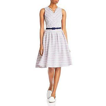 Karl Lagerfeld Paris Striped Belted Dress