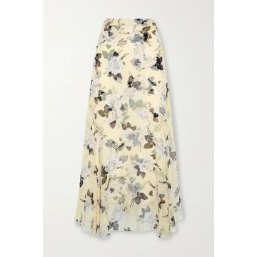 Erdem - Shea Floral-print Silk-chiffon Midi Skirt - Pastel yellow