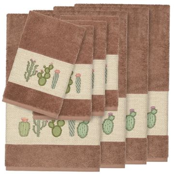 Authentic Hotel and Spa Turkish Cotton Cactus Embroidered Latte Brown 8-piece Towel Set