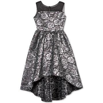 Big Girls Floral Brocade High-Low Dress