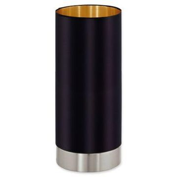 Eglo USA Maserlo 1-Light Cylinder Table Lamp in Black/Gold