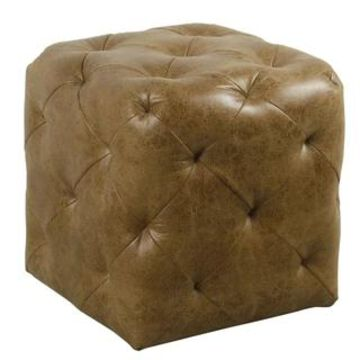 HomePop Small Pin-Tufted Ottoman - Distressed Brown Faux Leather (Brown)