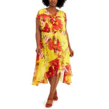 Taylor Plus Size Ruffled Asymmetrical-Hem Midi Dress