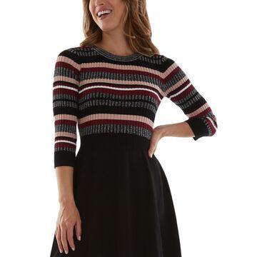 Bcx Juniors' Striped Ribbed-Top Sweater Dress