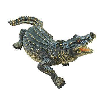 Design Toscano Agitated Alligator 9-in H x 25-in W Animal Garden Statue   QL56979