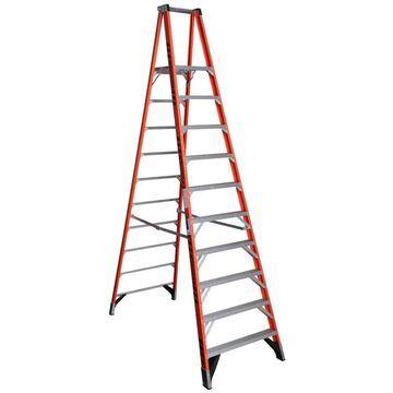 Werner P7400 Fiberglass 12-ft Type 1A - 300-lb Capacity Platform Step Ladder in Orange | P7410