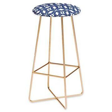 Deny Designs Faux Leather Upholstered Stool in Navy