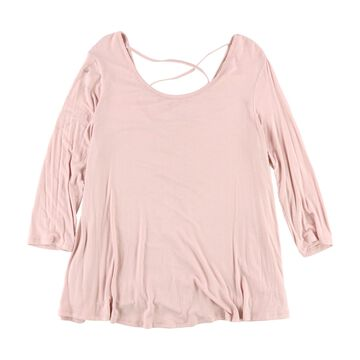 Hippie Rose Womens Lace-Up Basic T-Shirt