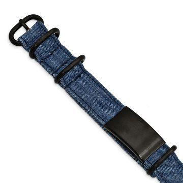 Chisel Stainless Steel Brushed Black IP-plated Blue Jean Fabric Adjustable ID Bracelet
