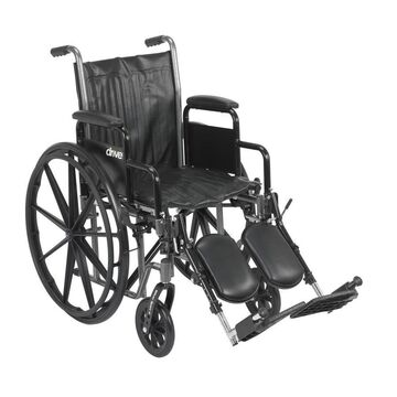 Drive Medical Silver Sport 2 Wheelchair, Detachable Desk Arms, Elevating Leg Rests, 16-in Seat in Black