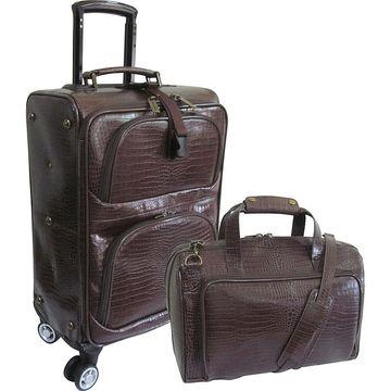 AmeriLeather Traveler Croco Print Leather 2pc Spinner Luggage Set