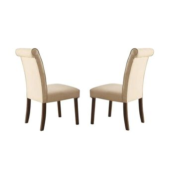Benzara Set of 2 Upholstered Dining Side Chair (Wood Frame) in Brown | BM186218