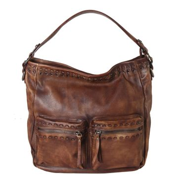 Diophy Genuine Leather Archaic Front Double Pocket Hobo