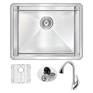 ANZZI Vanguard Undermount 23 In. Single Bowl Kitchen Sink w/ Accent Fa