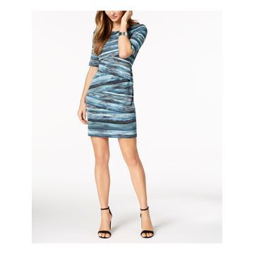 CONNECTED APPAREL Womens Blue Printed Short Sleeve Jewel Neck Knee Length Sheath Wear To Work Dress Size: 10