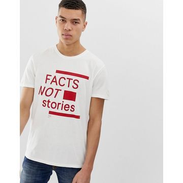 Nudie Jeans Co Anders fact not stories t-shirt in off white