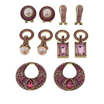 Heidi Daus Sparkling Solution Crystal-Accented Earring Set