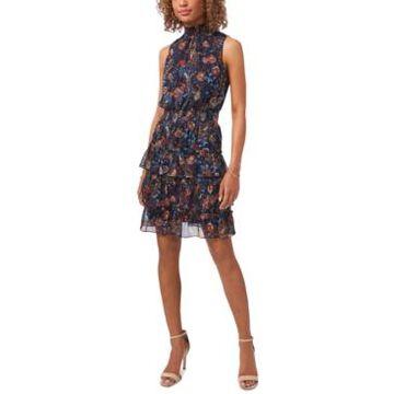 Msk Petite Mock-Neck Tiered Dress